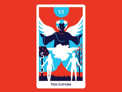 7 The Lovers lover lovers tarot card tarot cards tarot concept vector character art graphic design flat 2d illustration