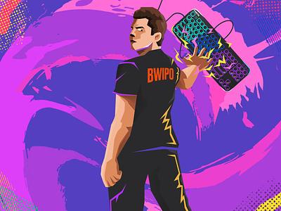 Fnatic League of Legends Player - Bwipo concept character vector design graphic design art 2d flat illustration pop art pop leagueoflegends portrait player gamer gaming esports