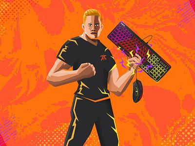 Fnatic League of Legends Player - Broxah design graphic design art 2d flat illustration pop pop art portrait illustration portrait leagueoflegends gamer gaming esports
