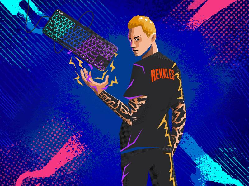 Fnatic League of Legends Player - Rekkles concept character vector design graphic design art 2d flat illustration esport pop art pop portrait illustration portrait player gamer leagueoflegends gaming esports