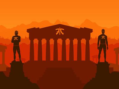 Fnatic Colosseum character esports concept vector design art flat athens 2d graphic design illustration
