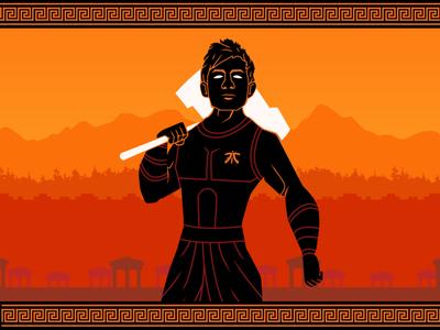 Nemesis God esports character concept vector design art flat 2d graphic design illustration