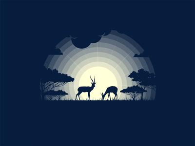 Gazelle animals pro art art graphic vector 2d graphic design sane mongolia illustration night grass tree wallpaper wildlife wild animal illustration animal art animal gazelle