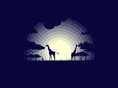 Giraffe giraffe wallpaper design wallpaper dribbble best shot vector mongolia dribbble new sane pro art art night grass nature illustration nature tree animal illustration animals animal illustration