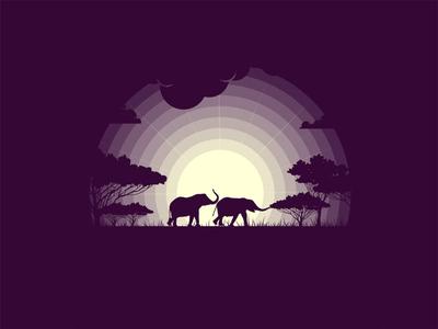 Elephant animal illustration animal wild nature illustration tree night dribbble best shot 2d illustration flat illustrator wallpaper nature mongolia vector sane pro art elephant logo elephants elephant