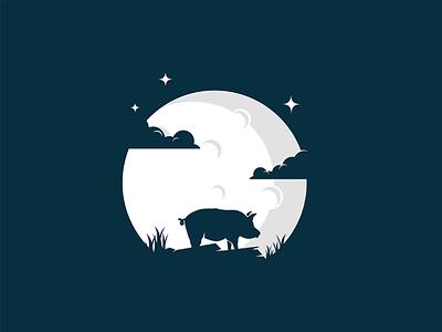 Pig night mongolia illustrator flat illustration dribbble best shot dribbble character animals t animal illustration l animal ar anima 2d
