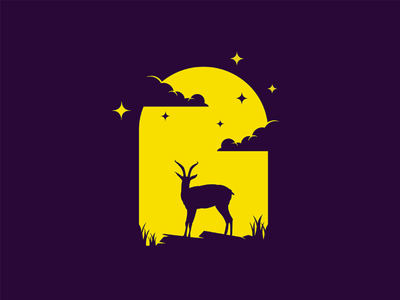 Gazelle night mongolia illustrator flat illustration dribbble best shot dribbble character animals t animal illustration l animal ar anima 2d
