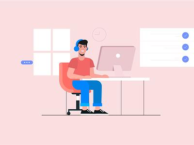 Freelancer designer vector illustration design designer room room mac freelancer lancer remote working free