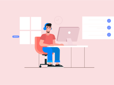 Freelancer designer vector illustration design designer room room mac freelancer lancer remote working free