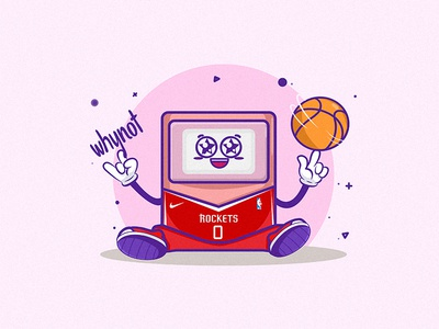 Why Not 2d illustrator illustration dribbble mongolia westbrook rockets houston rockets houston jersey ball why not sticker design stickermule sticker