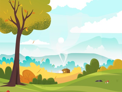 Autumn autumn nature flat illustration illustration illustrator dribbble best shot 2d vector flat sane unblast dribbble mongolia