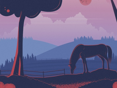 Horse flat 2d vector animal nature illustration landscape illustration nature landscape tree horse dribbble best shot dribbble