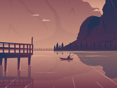 Fishing flat 2d vector river nature illustration landscape illustration nature landscape tree fishing dribbble best shot dribbble