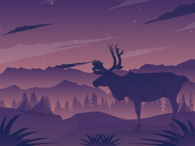 Reindeer sane flat illustration animals night character illustrator illustration mongolia flat 2d vector animal nature illustration landscape illustration nature landscape tree reindeer dribbble best shot dribbble
