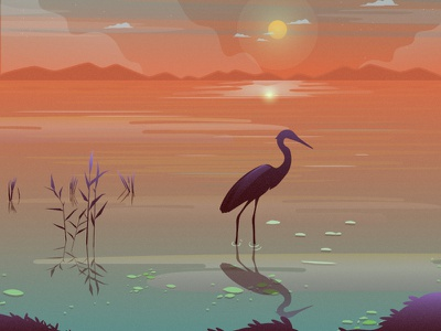 Crane bird sane flat illustration animals night illustrator illustration mongolia flat 2d vector animal nature illustration landscape illustration nature landscape tree crane dribbble best shot dribbble