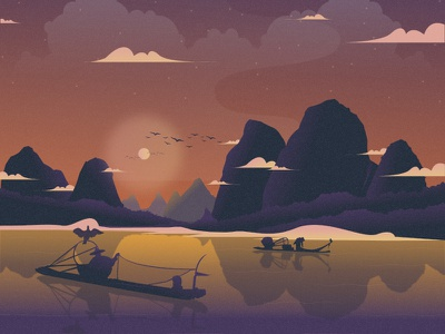 Li River character flat illustration night china vector illustrator illustration mongolia animal nature illustration landscape illustration nature landscape tree asia china culture fishing china river dribbble best shot dribbble