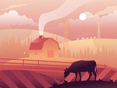 Farm landscape illustration nature landscape tree sane culture term house farm cow dribbble best shot dribbble