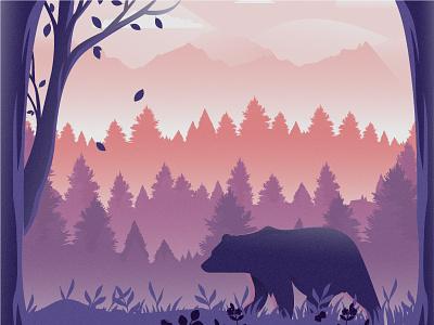 Bear 2d vector animal nature illustration landscape illustration nature landscape tree bears bear dribbble best shot dribbble