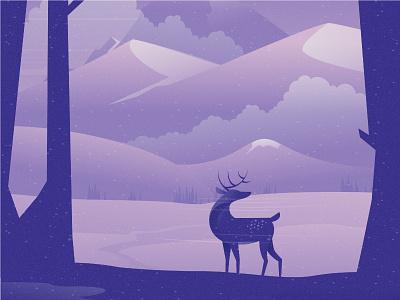 Deer vector animal nature illustration landscape illustration nature landscape tree deers illustration deers deer dribbble best shot dribbble