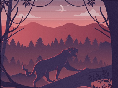 Black Panther 2d vector animal nature illustration landscape illustration nature landscape tree black panther panther dribbble best shot dribbble