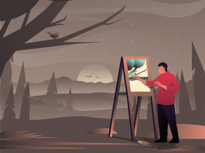 Artist flat 2d vector lifestyle life illustration landscape illustration hobby landscape world lifestyle illustration dribbble best shot dribbble