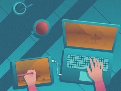 Working space flat 2d vector lifestyle life illustration landscape illustration hobby landscape world lifestyle illustration dribbble best shot dribbble