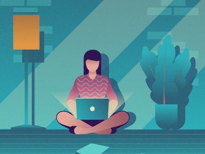 Working a remote flat 2d vector lifestyle life illustration landscape illustration hobby landscape world lifestyle illustration dribbble best shot dribbble