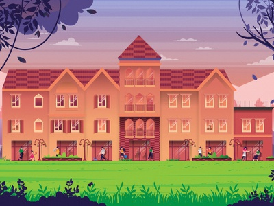 The Village at Nukht character flat illustration nature illustration tree nature illustrator illustration mongolia flat 2d vector lifestyle lifestyle illustration landscape illustration villages landscape town town illustration dribbble best shot dribbble