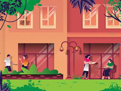 The Village at Nukht flat 2d vector lifestyle lifestyle illustration landscape illustration villages landscape town town illustration dribbble best shot dribbble