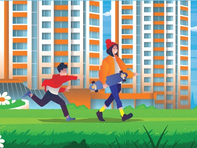 Sister plays with brother flat 2d vector lifestyle lifestyle illustration landscape illustration villages landscape town town illustration dribbble best shot dribbble