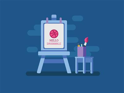 Hello Dribbble illustrator illustration design flatdesign flat hello dribbbleinvite invite first