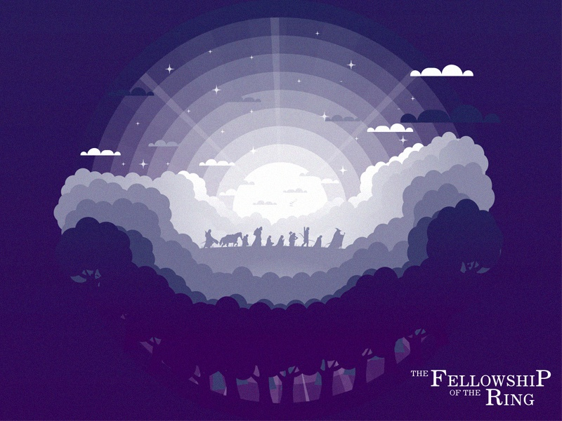 The Fellowship of the Ring illustration graphic lordofthering minimal poster movie forest tree mounth ring lotr