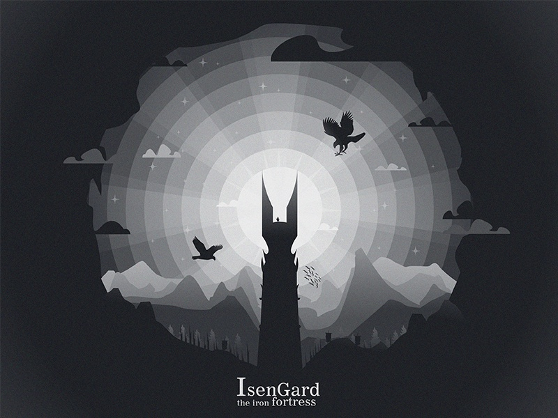 Isengard illustrator illustration minimal movie poster movie moon night eagle bird lord of the ring lotr isengard