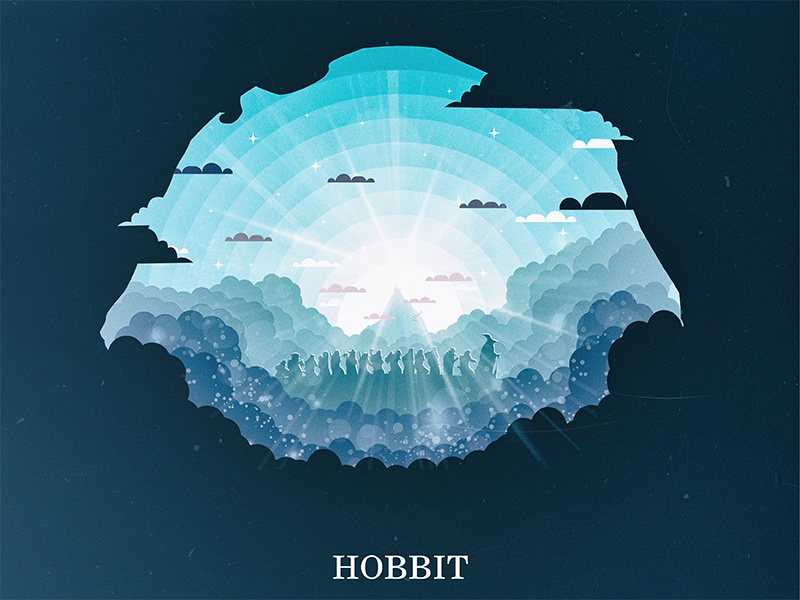 The Hobbit gandolf design flat illustrator illustration sun poster movie light erabor lotr hobbit