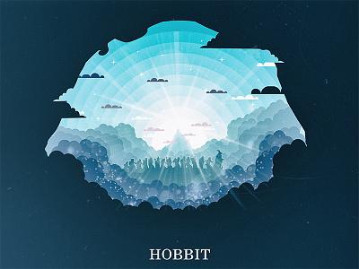 The Hobbit gandolf design flat illustrator illustration sun poster movie light erabor lotr hobbit