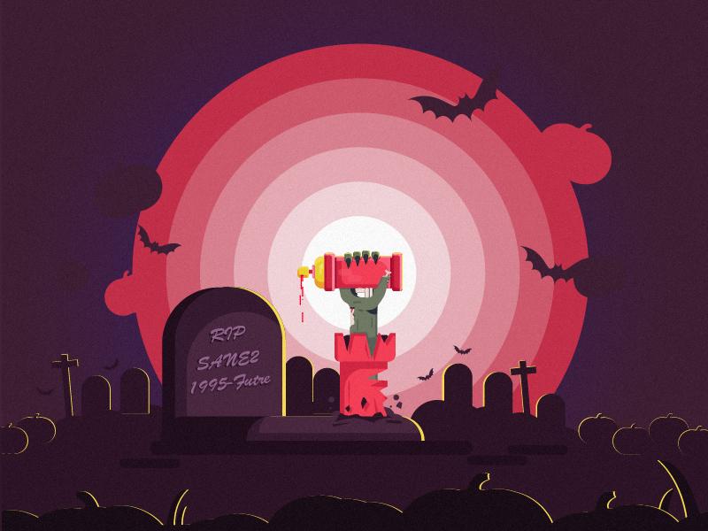 Hey Dribbblers spray pumkin bat zombie stickermule sticker rip playoff scary illustrator flat illustration