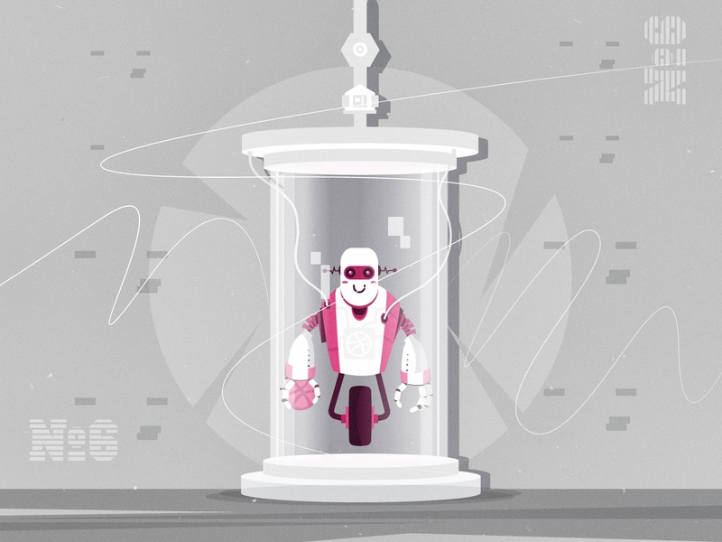 Experiment №6 - Weekly warm up character design robot illustration draw factory weekly challenge weekly warm-up robots robot experiment dribbble best shot sticker character design mongolia vector 2d dribbble illustrator flat illustration