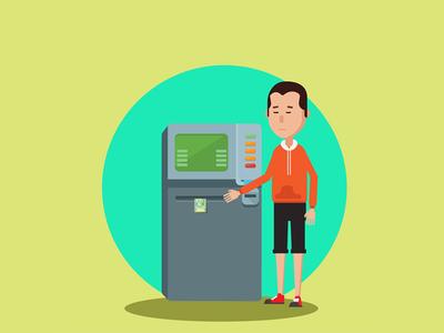 ATM character line art line design 2d vector illustrator flat dribbble mongolia illustration