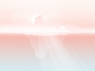 January calendar background sunset iceberg fog cold pastel bear pink january illustration