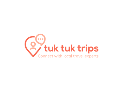 Tuk tuk trips Logo location talk conversation discuss chat expert connect travel icon logo