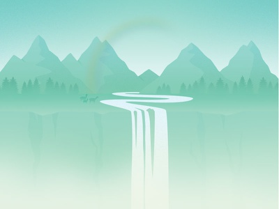April waterfall forest animal mountain landscape background design flat illustration calendar april