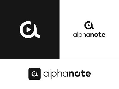 Alphanote Logo alpha a sound app logomark monogram song play note music icon logo