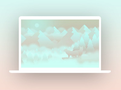 Wolves cloud cliff fog moon mountain forest animal wolves illustration wallpaper background