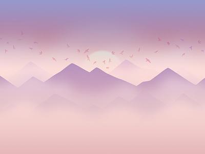 September cloud mountains birds gradient calendar background sunset fog cold pastel september illustration