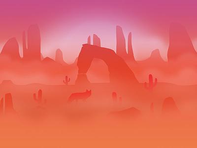 August sunset fog flat rocks desert coyote wallpaper calendar background illustration