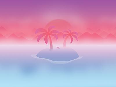 June sea turtle sunset fog flat palm tree mountain island wallpaper calendar background illustration