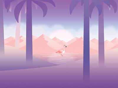 May flamingo desert cloud flat palm tree mountain lake wallpaper calendar background illustration