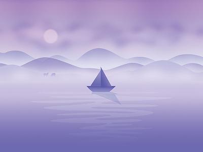 October hills water fog flat moon sheep boat wallpaper calendar background illustration