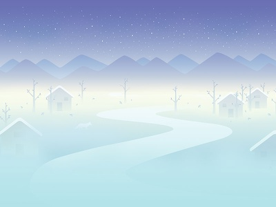 November fog night mountain tree cabin house snow fox wallpaper calendar background illustration