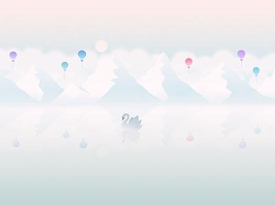 December ballon cloud mountain lake balloon swan soft pastel wallpaper calendar background illustration